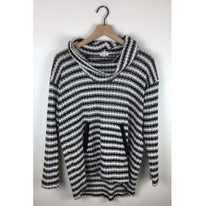 Splendid Striped Knit Funnel-neck Pullover Sweater
